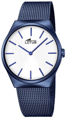Lotus Unisex Quartz Watch with Silver Dial Analogue Display and Blue Stainless Steel Plated Bracelet 18287/1