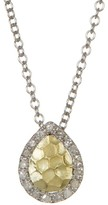 Meira T Two-Tone Teardrop Diamond Halo Pendant Necklace - 0.09 ctw