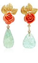 Sorab & Roshi Coral Rose Earrings with Diamond & Carved Fluorite Drops