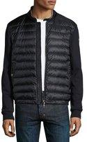 Moncler Zip-Front Sweatshirt w/Down Front, Navy