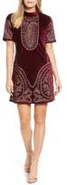 Kas Women's Lily Embroidered Velvet Shift Dress