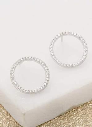 Mint Velvet Silver Circle Sparkle Earrings