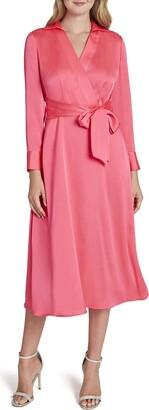 Tahari ASL Women's Long Sleeve Surplus Tie Waist Shirt Dress