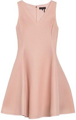 DKNY V-Neck Mesh Fit & Flare Dress