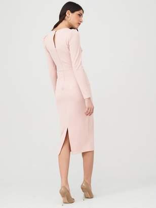 Very Wrap Tie Midi Dress - Dusty Pink