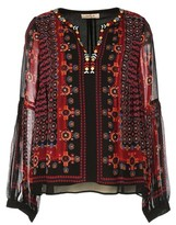 Rene Derhy Printed Long-Sleeved Blouse with Tunisian Collar