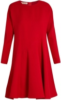 Marni Flared-hem long-sleeved silk and wool-blend dress