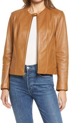 Cole Haan Leather Zip Front Jacket