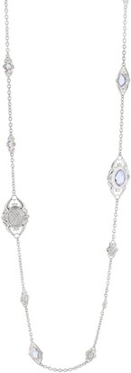 Lauren G. Adams Lauren G Adams Silvertone Simulated Gemstone Station Necklace