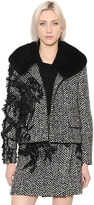 Ermanno Scervino Embroidered Wool Boucle Jacket W/ Fur