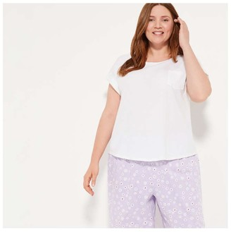 Joe Fresh Women+ Cotton Jersey Sleep Tee, White (Size 3X)