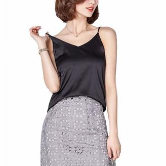 Tidec Women Ladies Silk Camisole Vest Top Cami Tank Summer Casual Sleeveless Satin Plain Tops T-Shirt Tees (Tag S(UK 6)