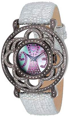Brillier Women's Papillon Stainless Steel Quartz Watch with Leather Strap