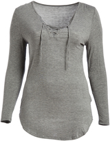 Paparazzi Heather Gray Long-Sleeve V-Neck Top - Plus