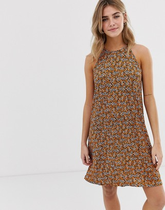 Only floral high neck dress-Brown