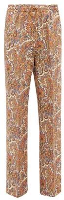Etro Paisley-print Wool-blend Twill Wide-leg Trousers - Womens - Brown Multi