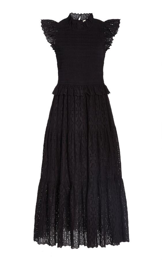 Thumbnail for your product : Sea Women's Ingrid Embroidered-Eyelet Cotton Midi Dress - Black/white - Moda Operandi