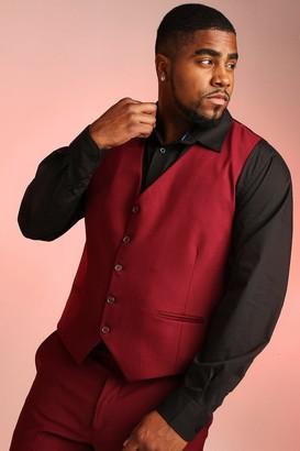 boohoo Mens Red Big & Tall Skinny Fit Waistcoat, Red