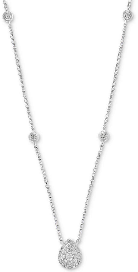 "Effy Diamond Bezel & Teardrop Cluster 18"" Pendant Necklace (1/3 ct. t.w.) in 14k White Gold"