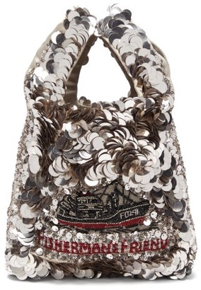 Anya Hindmarch Fisherman's Friend Recycled-satin Tote Bag - Silver Multi