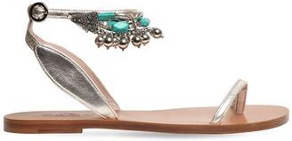 Etro 10mm Metallic Leather Thong Sandals