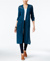 Style&Co. Style & Co Petite Pointelle Open-Front Duster Cardigan, Created for Macy's