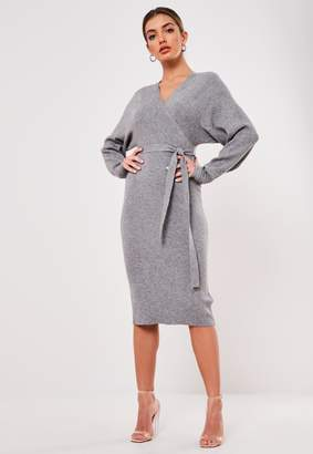 Missguided Grey Wrap Knitted Midi Dress