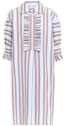 Tory Burch Ruffle-trimmed Striped Cotton-poplin Shirt Dress