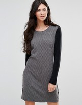 Lavand Shift Dress with Black Arms