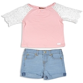 7 For All Mankind Girls' Lace Sleeve Top & Denim Shorts - Baby