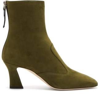 Fendi Ffreedom Square Toe Suede Boots - Womens - Khaki