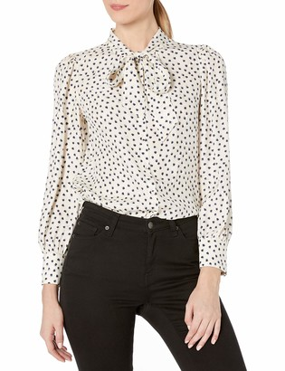 Rebecca Taylor Women's Long Sleeve Blurry Heart Silk Button Down Top