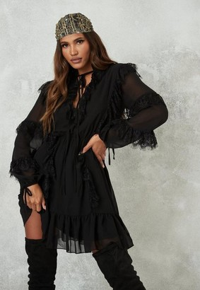 Missguided Black Lace Detail Smock Dress