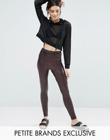 One Day Petite Pu Legging With Mesh Waist Detail