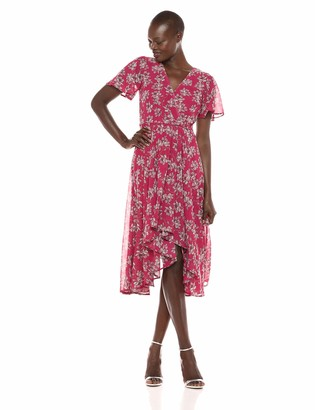 Sharagano Women's Printed Chiffon hi Low Dress