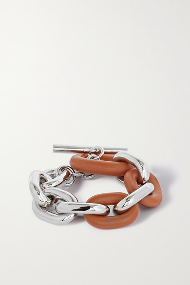 Paco Rabanne Silver-tone And Leather Bracelet - one size