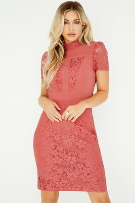 Little Mistress Helene Terracotta Lace Panel Dress