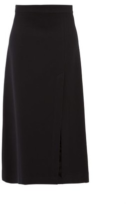 Raey A Line Split Hem Wool Blend Midi Skirt - Womens - Navy