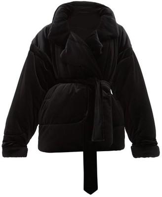 Norma Kamali Sleeping Bag Padded Velvet Coat - Womens - Black
