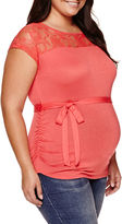 Asstd National Brand Maternity Sleeveless Lace-Yoke Tee - Plus