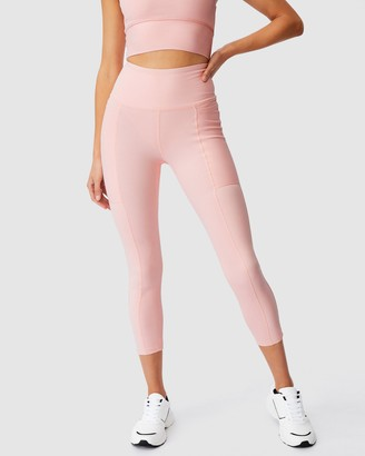 Cotton On Body Active - Women's Pink Tights - Rib Pocket 7-8 Tights - Size XXS at The Iconic