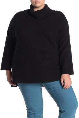 GRACE ELEMENTS Ribbed Cowl Neck Sweater (Plus Size)