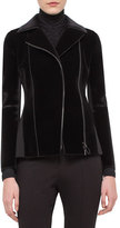 Akris Punto Velvet Jersey-Panel Moto Jacket, Black