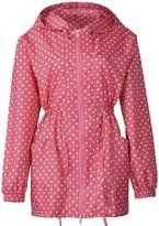 QZUnique Women's Packable Waterproof Rain Jacket Outdoor Raincoat with Zipper Blue