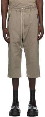 Rick Owens Grey Jersey Cropped Drawstring Lounge Pants
