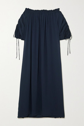 SU PARIS Off-the-shoulder Ruched Seersucker Maxi Dress - Navy