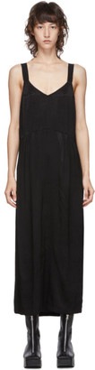 Raquel Allegra Black Ripple Satin Slip Dress