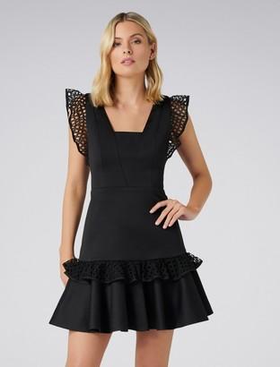 Forever New Kady Lace Trim Dress - Black - 4