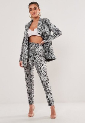 Missguided Grey Co Ord Snake Print Belted Cigarette Pants