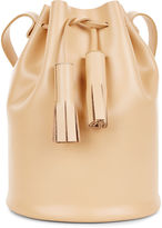 Building Block Apricot Leather Tassel Bucket Bag